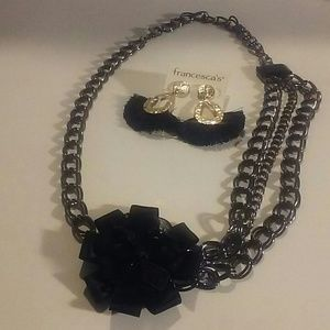 Black and stone necklace